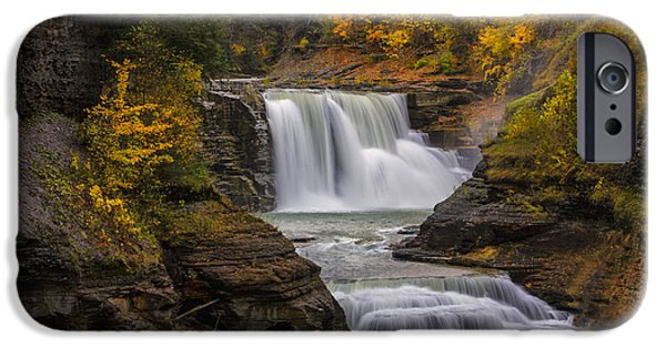 Autumn Photographs iPhone Cases - Lower Falls in Autumn iPhone Case by Rick Berk