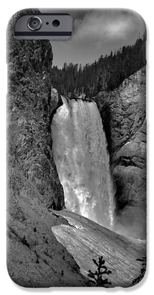 Lower Falls In Yellowstone In Black And White iPhone Case by Dan Sproul