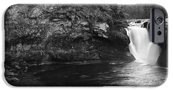 Autumn iPhone Cases - Lower Lewis River Waterfall Panoramam - Black and White iPhone Case by Mark Kiver