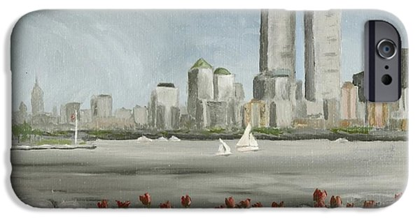The Twin Towers Of The World Trade Center iPhone Cases - Lower Manhattan 1992 iPhone Case by Susan Richardson