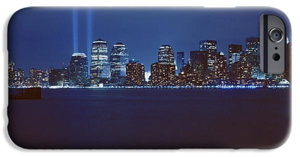 21st Century iPhone Cases - Lower Manhattan, Beams Of Light, Nyc iPhone Case by Panoramic Images