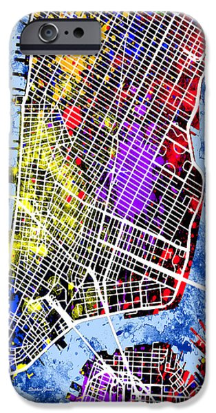 Empire State iPhone Cases - Lower Manhattan Map iPhone Case by Stephen Younts