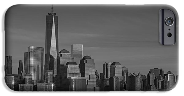 Manhattan iPhone Cases - Lower Manhattan Skyline BW iPhone Case by Susan Candelario