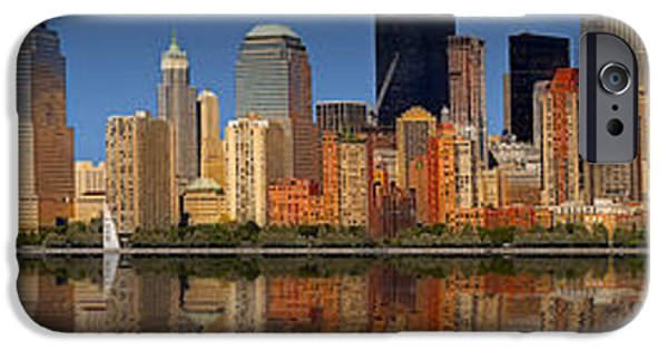 Hudson River iPhone Cases - Lower Manhattan Skyline iPhone Case by Susan Candelario