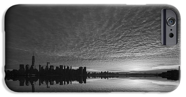 Twin Towers Nyc iPhone Cases - Lower Manhattan Sunrise bw iPhone Case by Michael Ver Sprill