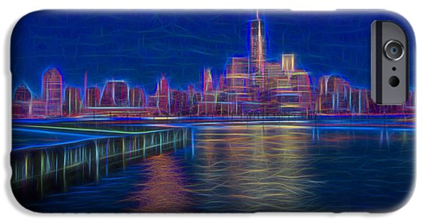 New York City Digital Art iPhone Cases - Lower New York City Glow iPhone Case by Susan Candelario