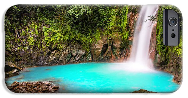 Environmental iPhone Cases - Lower Rio Celeste Waterfall iPhone Case by Andres Leon