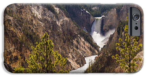 Grand Canyon iPhone Cases - Lower Yellowstone Canyon Falls 5 - Yellowstone National Park Wyoming iPhone Case by Brian Harig