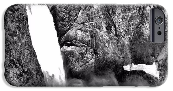 Grand Canyon iPhone Cases - Lower Yellowstone Falls Black And White iPhone Case by Dan Sproul