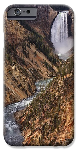 ist Photographs iPhone Cases - Lower Yellowstone Falls II iPhone Case by Mark Kiver
