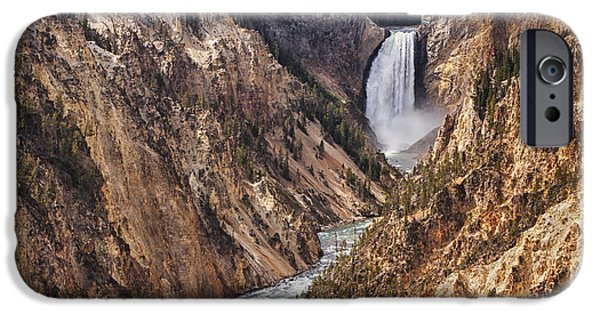 ist Photographs iPhone Cases - Lower Yellowstone Falls iPhone Case by Mark Kiver