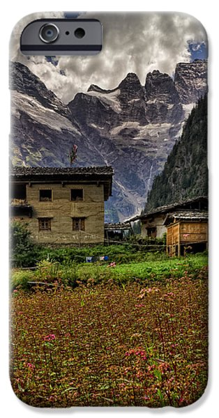 Tibetan Buddhism iPhone Cases - Lower Yubeng Town Crops iPhone Case by James Wheeler