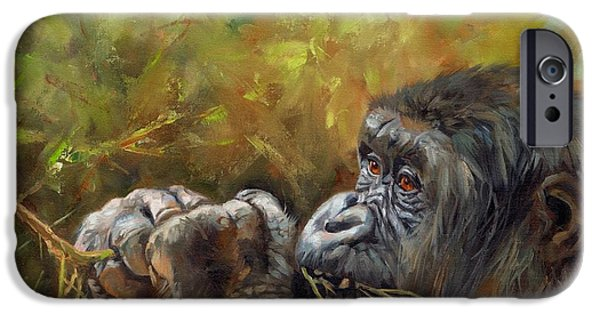 Ape iPhone Cases - Lowland Gorilla 2 iPhone Case by David Stribbling