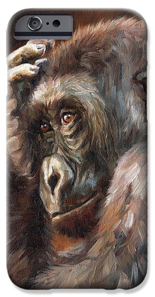 Ape iPhone Cases - Lowland Gorilla iPhone Case by David Stribbling