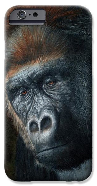 David iPhone Cases - Lowland Gorilla Painting iPhone Case by David Stribbling