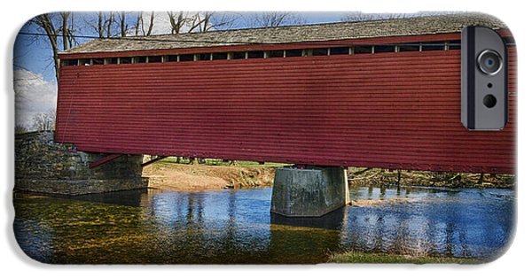 Covered Bridge iPhone Cases - Loys Station Covered Bridge II iPhone Case by Joan Carroll