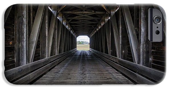 Covered Bridge iPhone Cases - Loys Station Covered Bridge iPhone Case by Joan Carroll