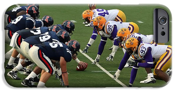 Sec iPhone Cases - LSU versus Ole Miss 2007 iPhone Case by Mountain Dreams