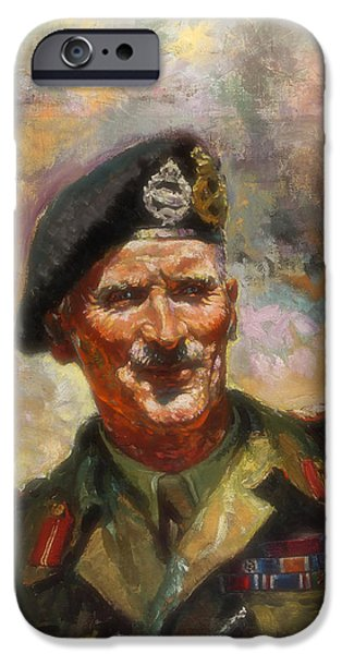 Concept Paintings iPhone Cases - Lt General Sir Bernard Montgomery iPhone Case by Forster
