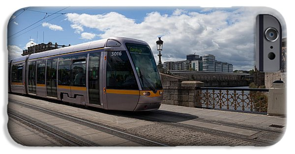 21st Century iPhone Cases - Luas Tram On The Sean Heuston Bridge iPhone Case by Panoramic Images