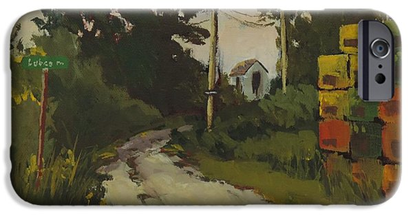 Maine Roads Paintings iPhone Cases - Lubee Lane iPhone Case by Bill Tomsa