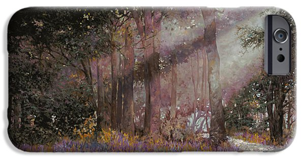 Woods Paintings iPhone Cases - Luci iPhone Case by Guido Borelli