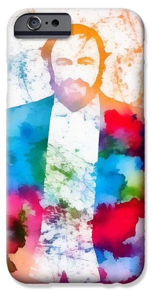 Operatic iPhone Cases - Luciano Pavarotti Paint Splatter iPhone Case by Dan Sproul
