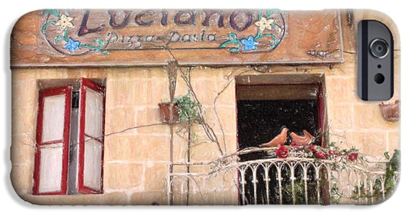 Balcony Pastels iPhone Cases - Lucianos Pizza iPhone Case by Jon Delorme