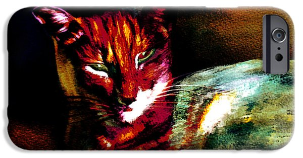 Portrait Of Evil iPhone Cases - Lucifer Sam Tiger Cat iPhone Case by Martin Howard