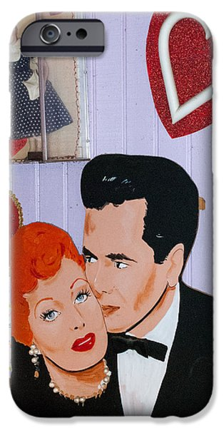 Lucille Ball at Peggy Sues Diner in Yermo California iPhone Case by Robert Ford