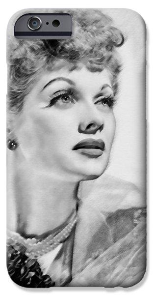 Walker Digital Art iPhone Cases - Lucille Ball iPhone Case by  Fli Art