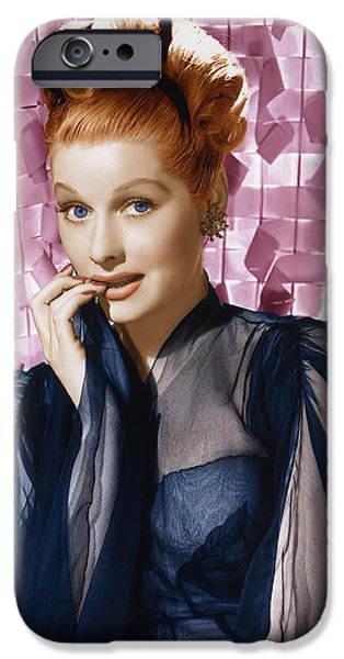 1950s Portraits iPhone Cases - Lucille Ball Glamour Portrait. iPhone Case by Nomad Art And  Design