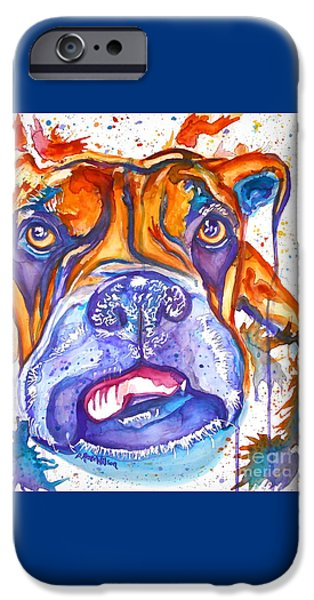 Boxer iPhone Cases - Lucille Boxer Blues  iPhone Case by D Renee Wilson