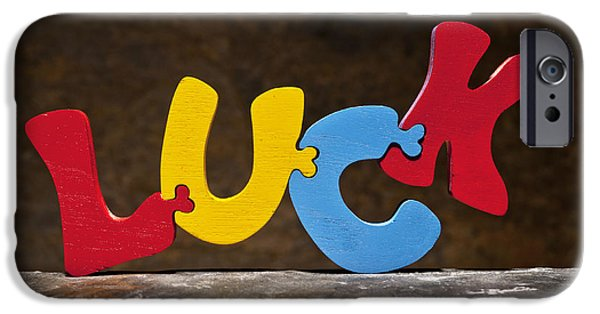 Positive Attitude iPhone Cases - Luck Jigsaw Puzzle Painted Wood Letters iPhone Case by Donald  Erickson