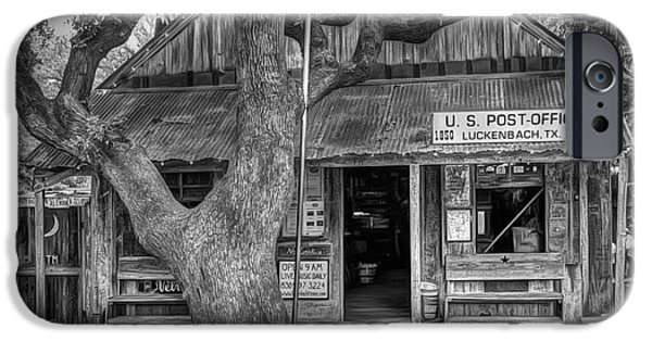 Country Store iPhone Cases - Luckenbach 2 Black and White iPhone Case by Scott Norris