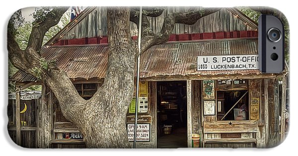 Roof iPhone Cases - Luckenbach 2 iPhone Case by Scott Norris