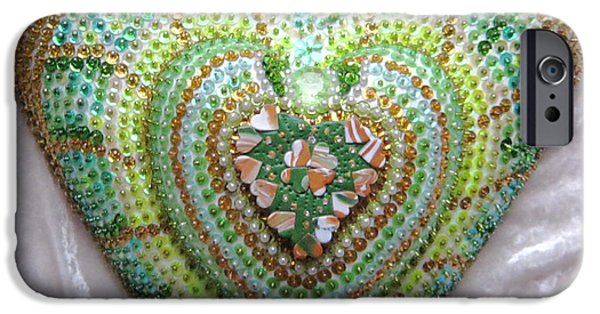 Magical Reliefs iPhone Cases - Lucky clover hearts iPhone Case by Heidi Sieber