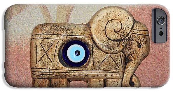Elephant Ceramics iPhone Cases - Lucky Elephant iPhone Case by Eleni  Makraki