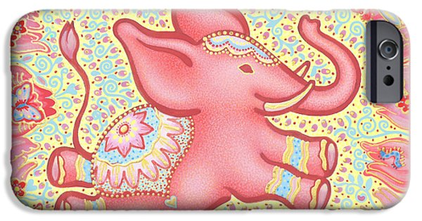 Inner Self Paintings iPhone Cases - Lucky Elephant Pink iPhone Case by Judith Grzimek