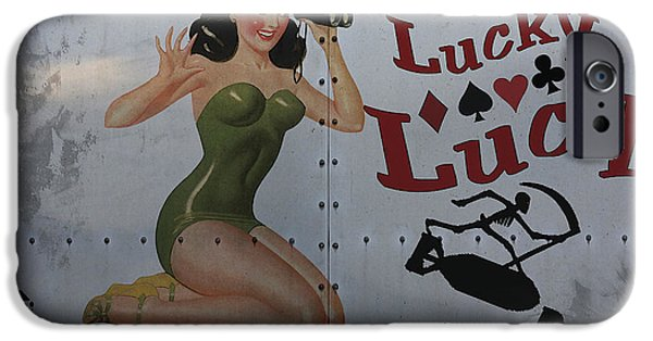 Pin-up iPhone Cases - Lucky Lucy Noseart iPhone Case by Cinema Photography