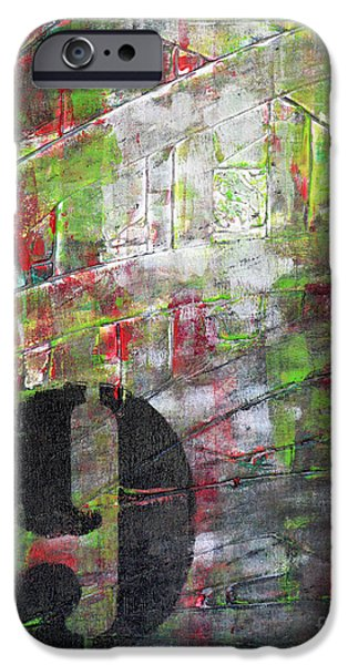 LUCKY NUMBER 9 green red grey black Abstract by Chakramoon iPhone Case by Belinda Capol