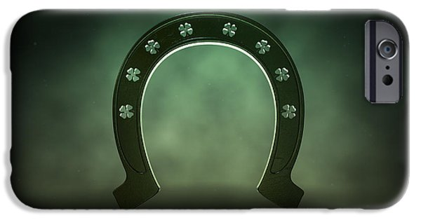 Good Luck iPhone Cases - Lucky Shamrock Horseshoe iPhone Case by Allan Swart