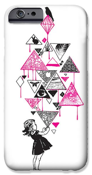Fuchsia iPhone Cases - Lucy in the sky iPhone Case by Budi Kwan