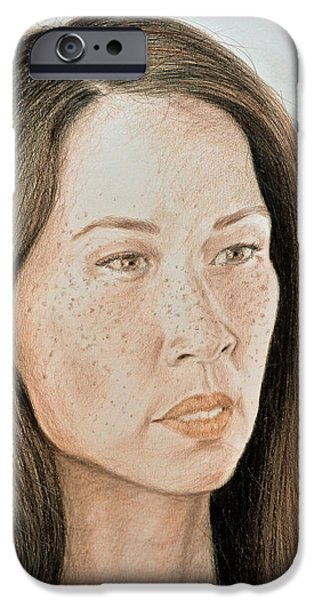 Model iPhone Cases - Lucy Liu Natural Beauty iPhone Case by Jim Fitzpatrick