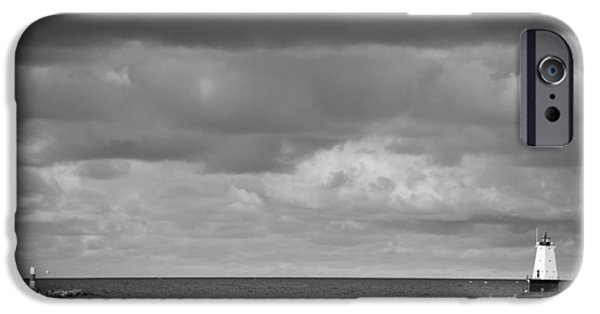 Storm Photographs iPhone Cases - Ludington Black and White iPhone Case by Sebastian Musial