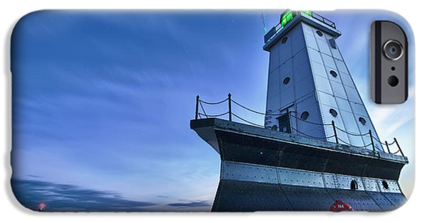 Stars Photographs iPhone Cases - Ludington North Breakwater Lighthouse iPhone Case by Sebastian Musial