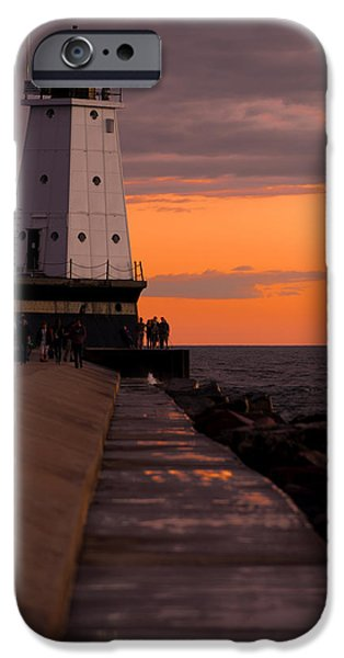 Sailing Photographs iPhone Cases - Ludington Pier and Lighthouse iPhone Case by Sebastian Musial