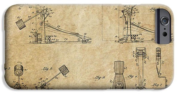 Drum Sets iPhone Cases - Ludwig Drum Pedal 3 Patent Art 1951 iPhone Case by Daniel Hagerman