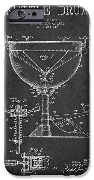 Drummer iPhone Cases - Ludwig Kettle Drum Drum Patent Drawing from 1941 - Dark iPhone Case by Aged Pixel