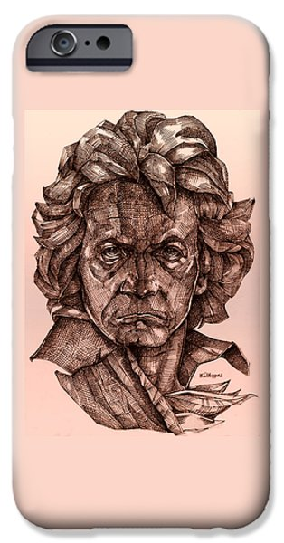 Sepia Ink Drawings iPhone Cases - Ludwig van Beethoven iPhone Case by Derrick Higgins